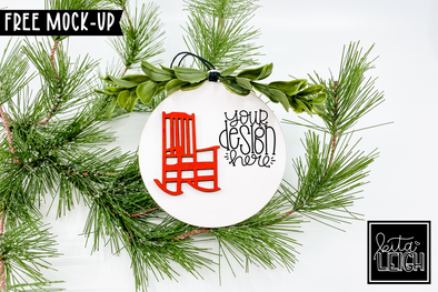 "4"" Wooden Ornament with Rocking Chair Mockup"
