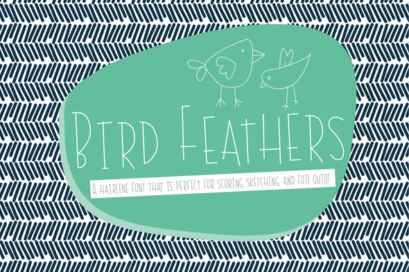 Bird Feathers Hairline Font, Scoring, Sketching, Foil Quill