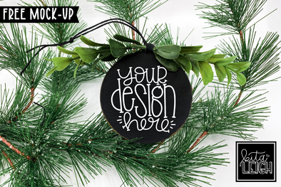 Black Round Wooden Ornament Mockup