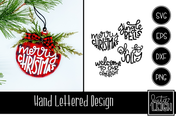 Christmas Hand Lettered Half Rounds Set 6