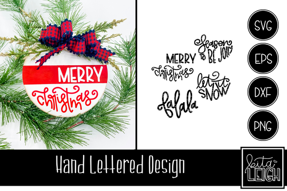 Christmas Hand Lettered Half Rounds Set 2
