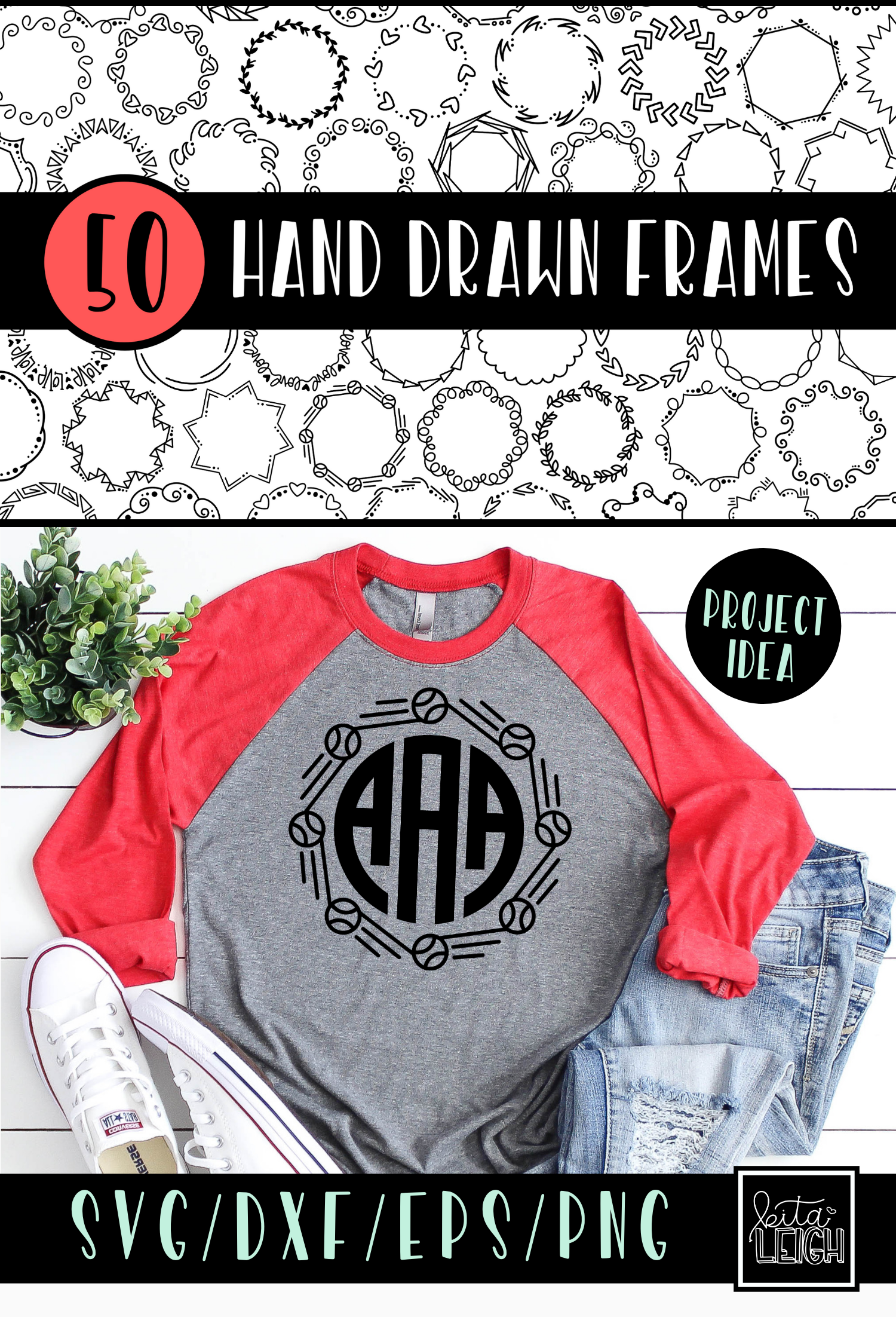 50 Hand Drawn Circle Monogram Frames Bundle Kitaleigh