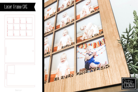 Laser Cut Baby Monthly Photo Frame SVG
