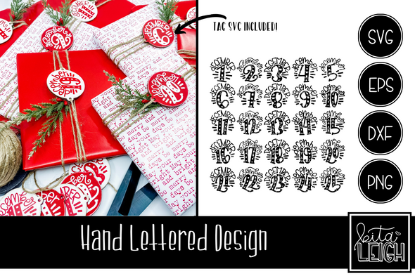 December 1-25 Christmas Hand Lettered Rounds