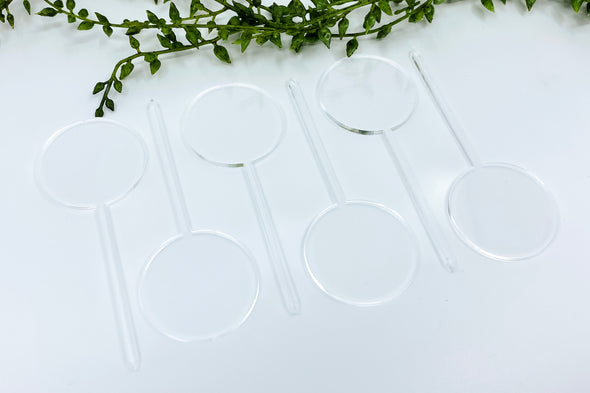 "(6) Six 1.5"" Clear Acrylic Round Cupcake Topper Blanks"