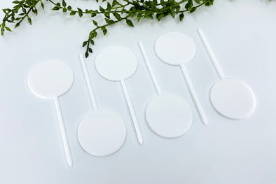 "(6) Six 1.5"" White Acrylic Round Cupcake Topper Blanks"