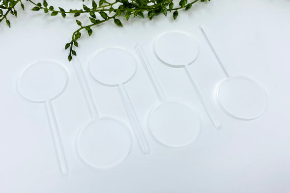 "(6) Six 1.5"" Frosted Acrylic Round Cupcake Topper Blanks"