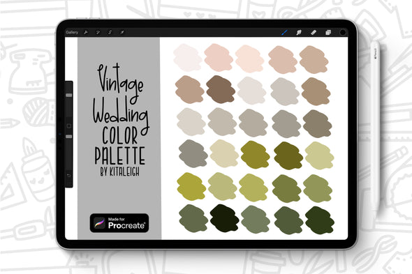 Vintage Wedding Procreate Color Palette Swatch