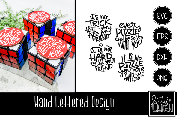 Hand Lettered Puzzle Valentines Rounds