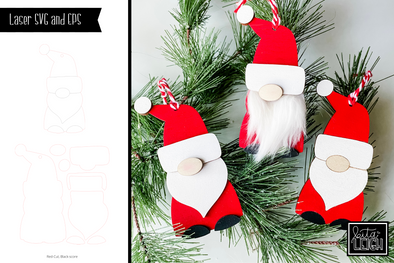 Laser Gnome Christmas Ornament SVG