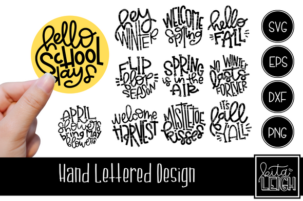 Hand Lettered Rounds for every Season Set 2, Seasonal Rounds