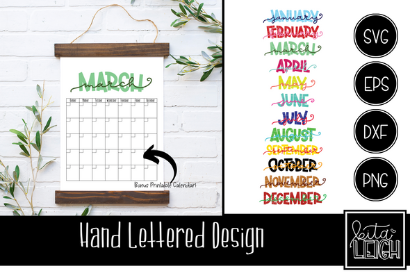 Stacked Months SVG for Vinyl Cutting Machines and Bonus Printable Calendar