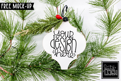 White Arabesque Wooden Ornament Mockup