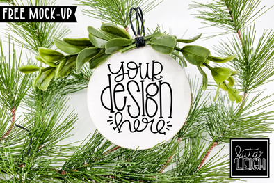 White Round Wooden Ornament Mockup