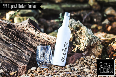 Wine Bottle and Stemless Glass Beach Lake Mockup