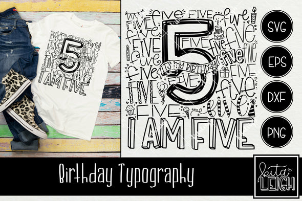 5th Birthday Typography