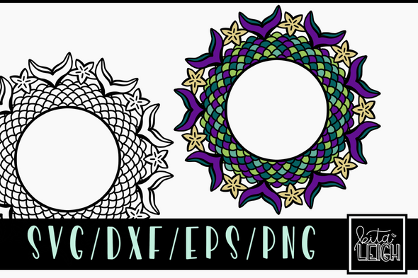 Mermaid Mandala SVG Cut File and PNG Sublimation File-3