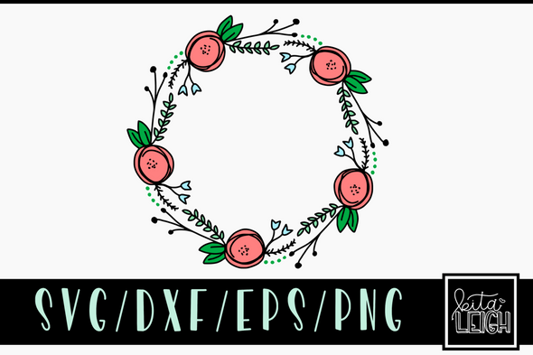 Floral Wreath SVG Cut File and PNG Sublimation File