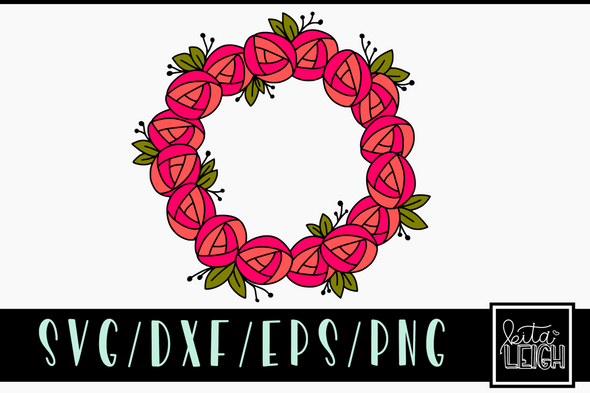 Full Rose Wreath SVG Cut File and PNG Sublimation File