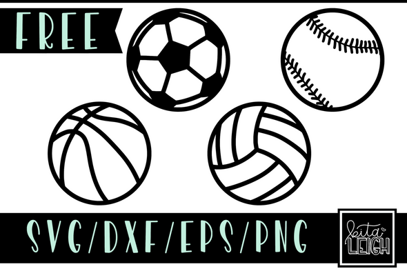 FREE Sports Balls SVG Cut File and PNG Sublimation Files (Basketball, Soccer, Baseball, and Volleyball)