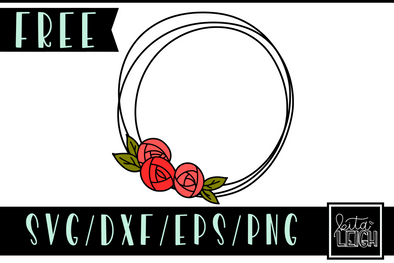 FREE Floral Rose Wreath SVG Cut File and PNG Sublimation File