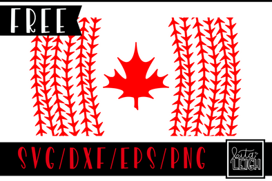 FREE Baseball Canadian Flag SVG Cut File and PNG Sublimation File