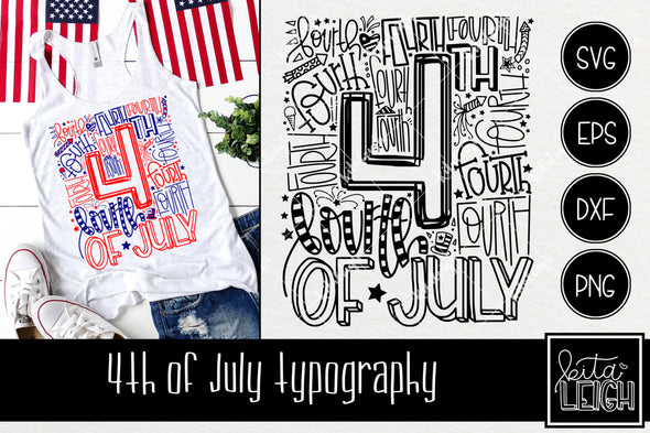 4th Fourth of July Typography SVG