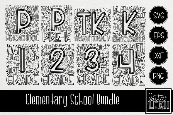 Mini Elementary School Typography SVG Bundle