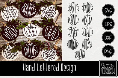 Hand Lettered Christmas Reindeer Names Rounds SVG