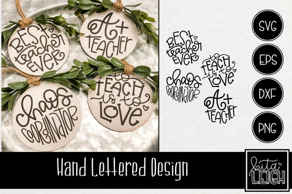 Hand Lettered Teacher Christmas Rounds SVG