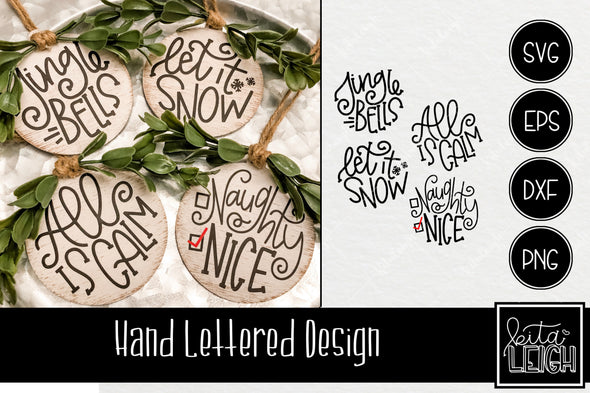 Hand Lettered Christmas Rounds 2 SVG