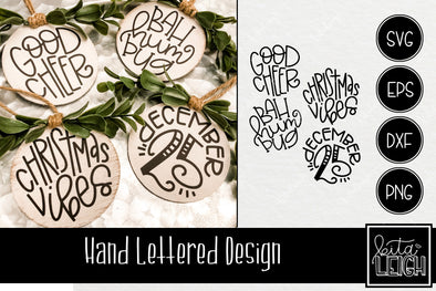 Hand Lettered Christmas Rounds 3 SVG