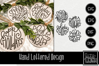 Hand Lettered Holiday Rounds SVG