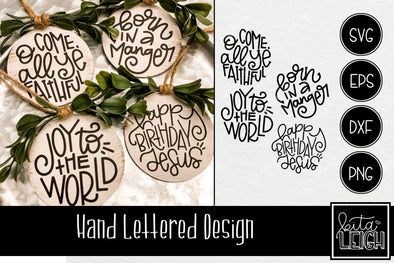 Hand Lettered Religious Christmas Rounds SVG