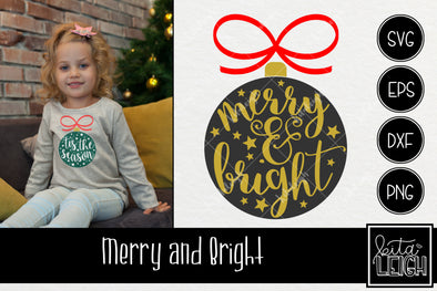 Merry and Bright Ornament  SVG