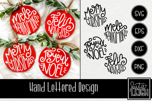 Merry Christmas in Different Languages Hand Lettered Rounds