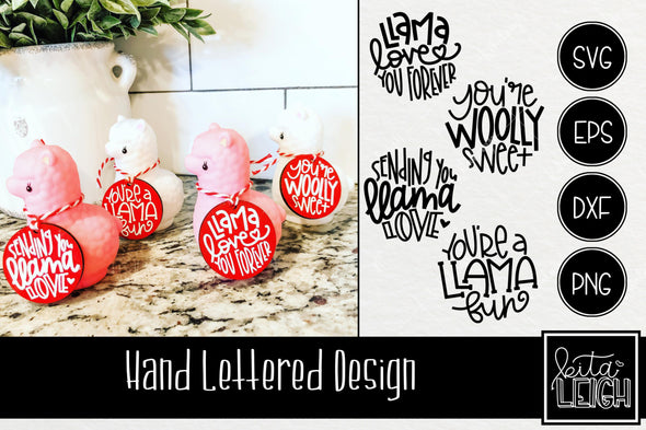Valentine Hand Lettered Llama Rounds SVG