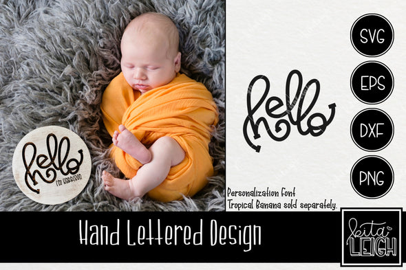 Hello Hand Lettered Rounds SVG