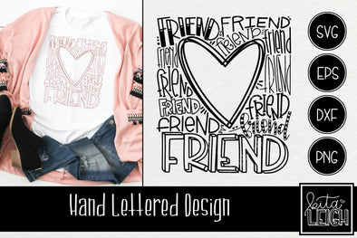 Friend Heart Typography SVG