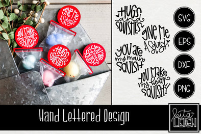 Squishy Valentines Day Hand Lettered Rounds SVG