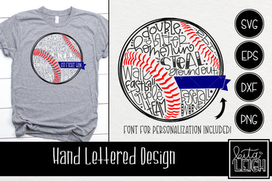 Baseball Hand Lettered Ball with Font for Personalization SVG