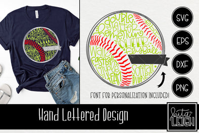 Softball Hand Lettered Ball with Font for Personalization SVG