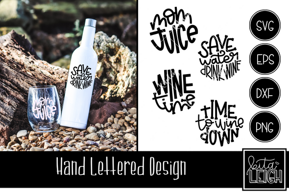 Wine Hand Lettered Rounds