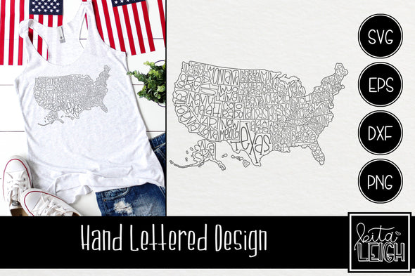 Hand Lettered United States of America USA Map Outline Great for the Laser