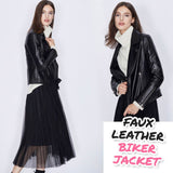 Seychattel™ Petite Faux Leather Biker Jacket