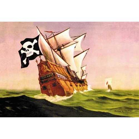 A Pirate Ship With Sails All Set (Canvas Art)
