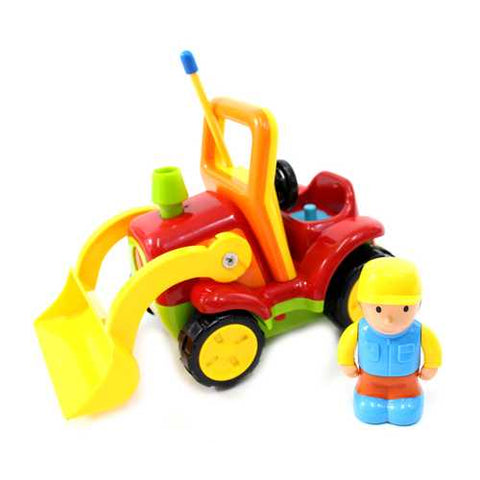 "4"" Cartoon RC Construction Truck Remote Control Toy For Toddlers (Red)"