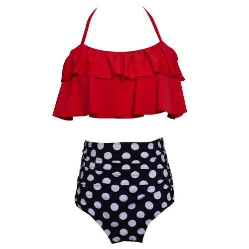 Baby Girls Swimsuit High Waist Bikini 2 Pieces Swimwear Printed