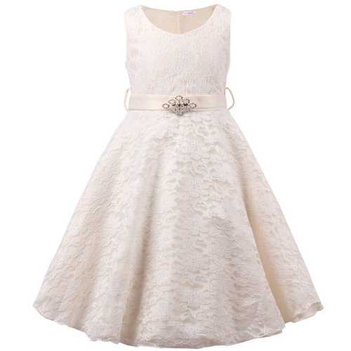 Girls Lace V Neck Flower Girl Dress for Wedding Party Ball Gown Ivory