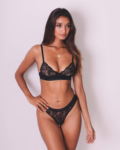 Intimate Lace Bralette & Thong - Bamboo Underwear